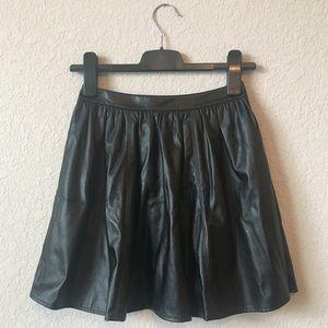 Decree Black Pleather Skater Skirt Full Black Zip